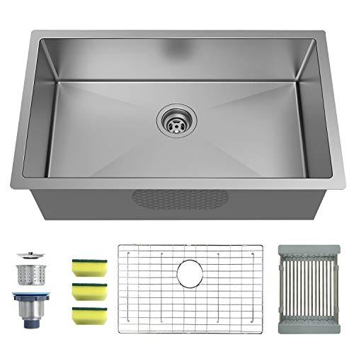MENSARJOR 32'' x 19'' Single Bowl Kitchen Sink 16 Gauge Undermount Stainless Steel Kitchen Sink, Bar or Prep Kitchen sink ()