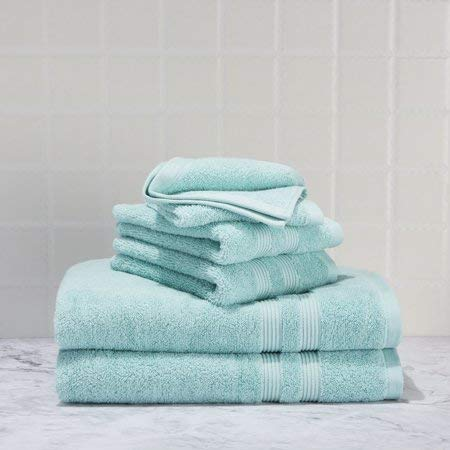 Mainstay 6 Piece Set of Soft & Classic Look Solid Performance Towel, 100% Cotton, Fade Resistant, Designed to Dry Faster [Includes 2 Bath Towels, 2 Hand Towels and 2 washcloths] - Classic Mint