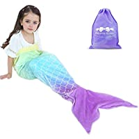 RIBANDS HOME Cozy Mermaid Tail Blanket for Kids and Teens...
