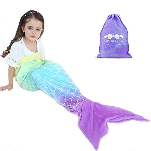 RIBANDS HOME Cozy Mermaid Tail Blanket for Kids and Teens Soft Flannel Fleece Wrapping Cover with Colorful Ombre Fish Tail