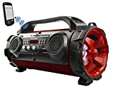 Boytone BT-50RD Portable Bluetooth Boombox Speaker, Indoor/Outdoor 2.1 Hi-Fi Cylinder Loud Sound Built-in 5.25' Subwoofer, 2 x 2.25 Tweeters, Micro SD, USB Player, AUX Inputs, FM Radio, RGB Lights