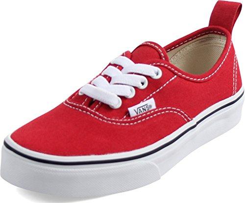 Vans Kids Authentic Elastic (Elastic Lace) Skate Shoe Racing Red/True White 11]()