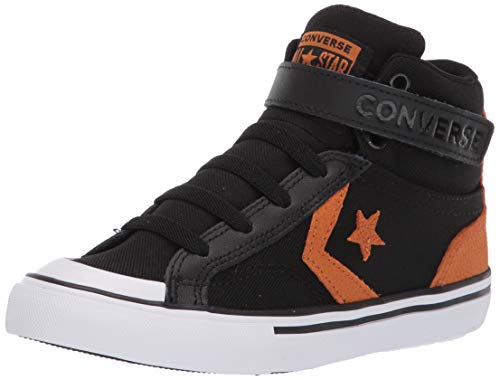 Converse Boys Kids' Pro Blaze Canvas High Top Sneaker, Black/Monarch/White, 11 M US Little