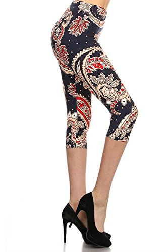R733-CA-OS Paisley Glamour Capri Print Leggings