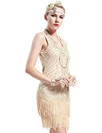 Women's Flapper Dresses 1920s V Neck Beaded Fringed Great...