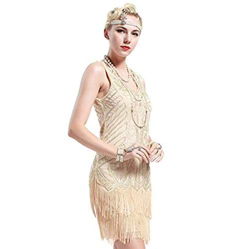 BABEYOND Womens Flapper Dresses 1920s V Neck Beaded Fringed Great Gatsby Dress (Medium, Beige)