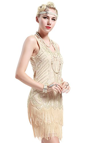 BABEYOND Women's Flapper Dresses 1920s V Neck Beaded Fringed Great Gatsby Dress (Large, Beige)