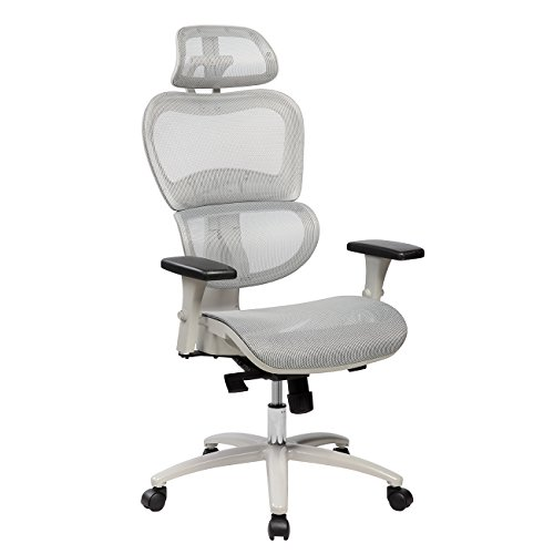 Techni Mobili High Back Mesh Office Executive Chair with Neck Support. Color: Grey -