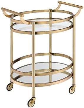 ACME Lakelyn Serving Cart – 98190 – Brushed Bronze Clear Glass