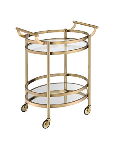 Glass Top Serving Cart - Acme Furniture 98190 Lakelyn Serving Cart, One Size, Clear Glass and Gold