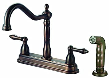 Design House 527119 Georgetown Kitchen Faucet With Sprayer, Brushed Bronze