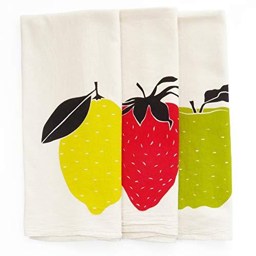 Set of 3 Giant Fruit Bundle Pack Kitchen Tea Towels: Strawberry, Apple and Lemon