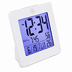 Marathon CL030050WH Digital Dual Alarm Clock with Day, Date, Temperature and Backlight. Color-White. Batteries Included