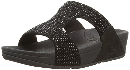 (FitFlop Women's Rokkit Slide, Black Diamond, 9 M US)