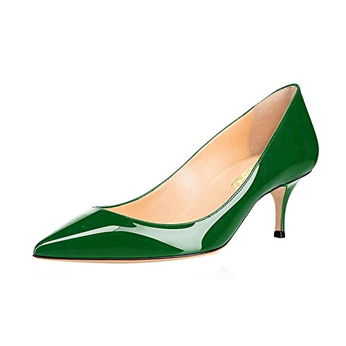 VOCOSI Women's Closed Pointed Toe Low Kitten Heel Wedding Party Dress Pumps P-Green 10 US