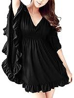 Allegra K Women V Neck Butterfly Sleeve Dress Elastic Waist Oversize Dresses