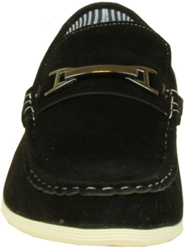 Coronado Men Casual Shoe Cody-2 Comfort Loafer Style With A Moc-Stitched Toe and Buckle Details Black YQwMzAJ5