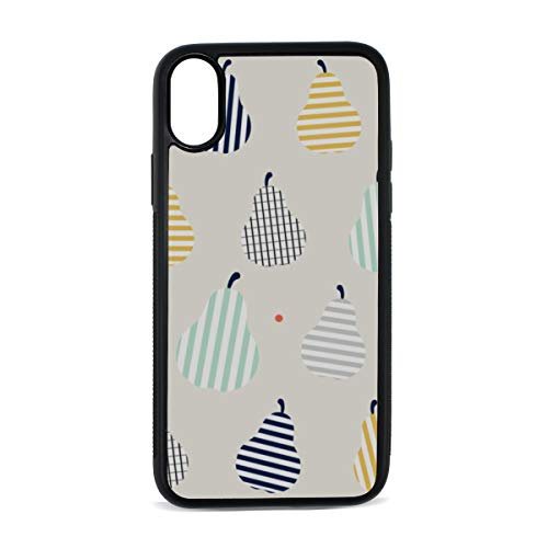 iPhone Abstract Tropical Hawaiian Fruit Doodle Style Striped Dots Color Digital Print TPU Pc Pearl Plate Cover Phone Hard Case Accessories Compatible with Protective Apple Iphonex/xs Case 5.8 Inch