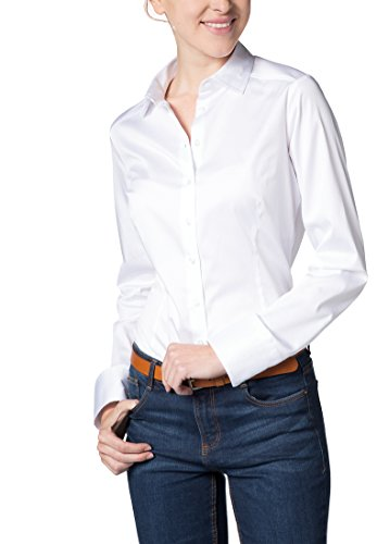 Long Eterna Fit Slim Bianco Uni Sleeve Blouse drx6nrU