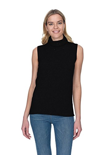 - State Cashmere Women's 100% Pure Cashmere Sleeveless Turtleneck Sweater