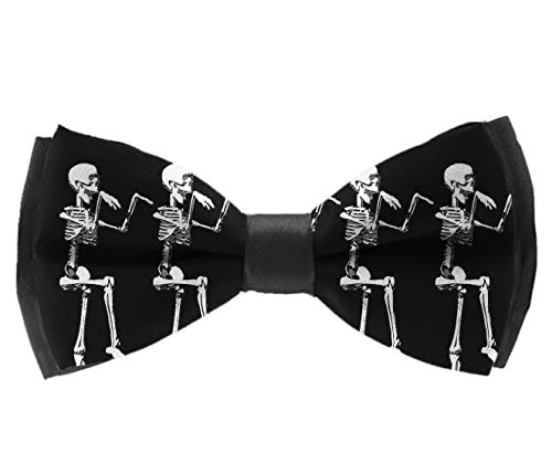 L Wright-King Mens Classic Pre-Tied Satin Formal Tuxedo Bowtie Adjustable Halloween Posable Skeleton