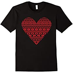 Men's Red Heart Cool Valentine's Day T-Shirt 2XL Black