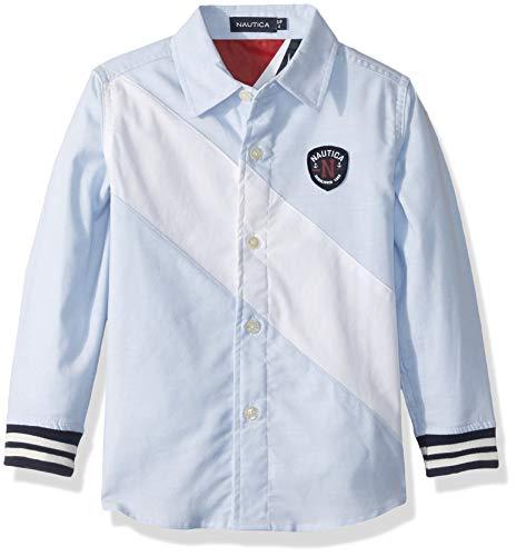 Nautica Boys Long Sleeve Color Block Button Down Shirt