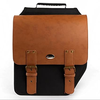 8977c8bc9265 Image Unavailable. Image not available for. Color  Rear Rack Seat Pannier  Both-side Leather Outdoor Rainproof Waterproof Postman Style Bag Brown  Cycling