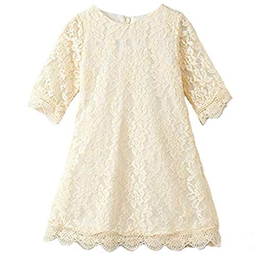 Girls Dresses 7-16 Special Occasion Formal Prom Ball Gowns 4 Years Old Long Sleeve Lace Dress for Girls Wedding Birthday Party 4 T White Flower Fall Holiday Dress for Children (Beige 130)