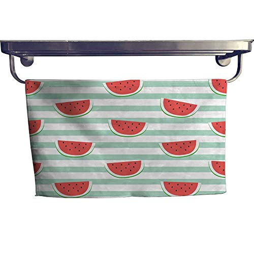Leigh home Absorbent Towel, re Watermelon Slice Design on Stripe Blue backgroun Wallpaper Backdrop ,spa, Gym etc, Strength, high Absorbency and Fast Drying W 23.5