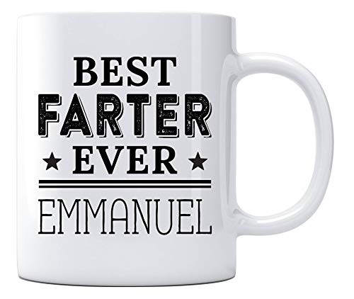 Best Dad Ever Emmanuel Gift Mug - Top Fathers Day Gifts For Dad, Husband, Men - Unique Gift Idea For Him From Daughter, Son, Wife - Cool Birthday Present Fun Novelty Coffee Cup 11oz White