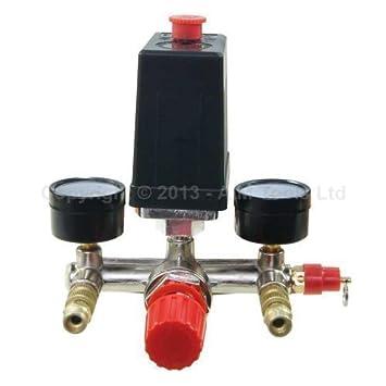 Compresor Aire Control Interruptor Con Válvula Calibrador Regulador SP24111008: Amazon.es: Bricolaje y herramientas