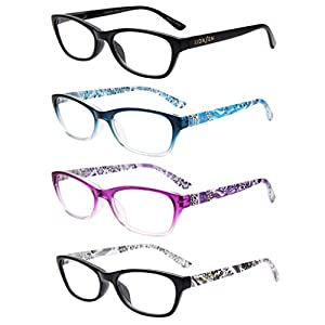 LianSan Designer 4 Pack Cat Eye Magnifying Readers Womens Lightweight Vintage Classic Fashion Plastic Portable Reading Glasses with Case with Cute Patterns L3716, +4.00 Magnifaction