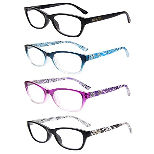 LianSan Designer 4 Pack Cat Eye Magnifying Readers Womens Lightweight Vintage Classic Fashion Plastic Portable Reading Glasses with Case with Cute Patterns L3716, +4.00 - Cheap Glasses Reading Rimless