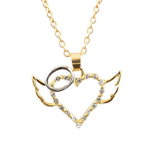 Botrong® Angel Wings Guarded Heart Pendant Necklace Love Heart (Gold)