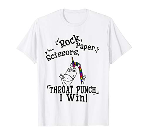 Rock paper scissors throat punch I win T-shirt]()