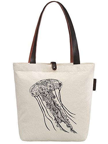So'each Women's Jellyfish Geometry Graphic Canvas Handbag Tote Shoulder Bag