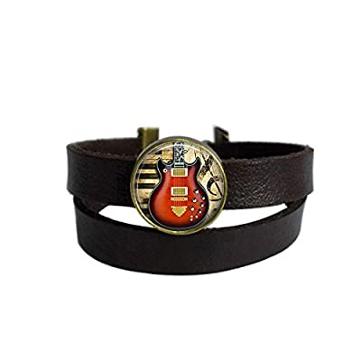 LooPoP Vintage Punk Dark Brown Leather Bracelet Guitar Glass Pendant Instrument Belt Wrap Cuff Bangle Adjustable