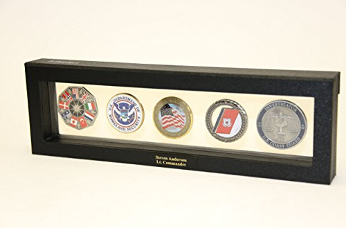 - 5 Challenge Coin / Casino Chip / Coins Display Case Box Frame Holder Shadowbox