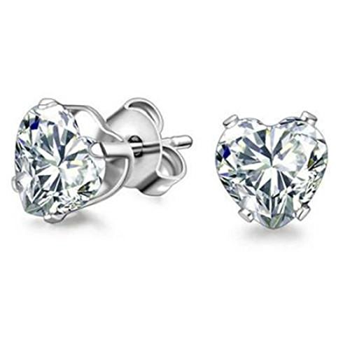 Solitaire Stud Earring 4mm Small Heart Simulated Cubic Zirconia Stainless Steel