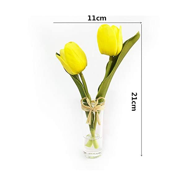 EBUYOM Mini Artificial Flowers Tulips Bouquet in Glass Vase,Home Ornament Wedding Decoration (Yellow01)
