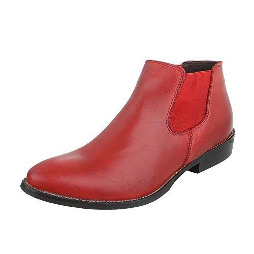 Italiaans-design Chelsea Laarzen Vrouwen Lederen Schoenen Chelsea Laarzen Blokkeren Hak Enkellaars Rode Stretch