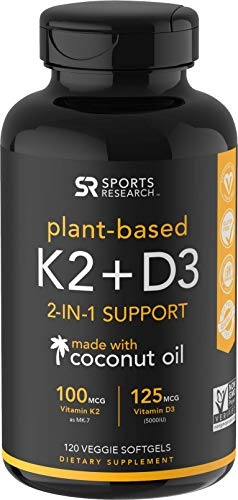 Vitamin K2 + D3 with Organic Coconut Oil for Better Absorption | 2-in-1 Support for Your Heart, Bones & Teeth | Vegan Certified, GMO & Gluten Free (120 Veggie Softgels)