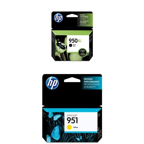 HP 950XL Black High Yield Original Ink Cartridge (CN045AN) and HP 951 Yellow Original Ink Cartridge (CN052AN) Bundle