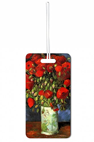 Vincent Van Gogh Vase with Poppies Rosie Parker Inc. Double-Sided Luggage Tag