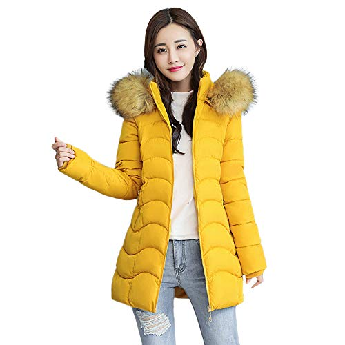 Liraly Coats for Women Winter Sale Warm Coat Faux Fur Hooded Thick Warm Slim Jacket Long Overcoat(Yellow,US-6 /CN-M)