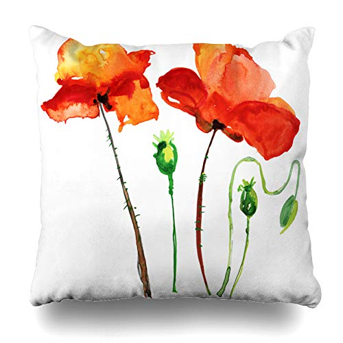 (Ahawoso Decorative Throw Pillow Cover Head Red Botanical Poppy Flowers Watercolor Nature Blooming Vintage Bloom Blossom Botany Design Home Decor Pillowcase Square Size 18