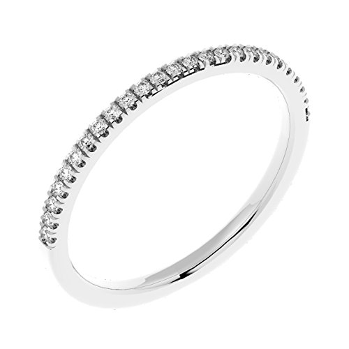 0.15 Carat Round Diamond Thin Micro Pave Set Half Eternity Ring in White...