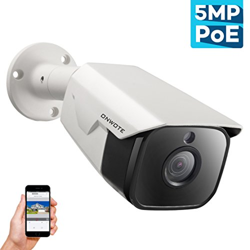 [NEWEST] ONWOTE 5MP IP POE Security Camera Outdoor, 5 Megapixel 2592x 1944P Super HD Bullet Home Video Surveillance Camera, 100ft Night Vision, IP65 Waterproof, Motion Alert, More Stable than Wireless