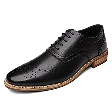 OUOUVALLEY Men's Oxford Modern Classic Brogue Wing-Tip Lace Up Leather Lined Perforated Dress Oxfords Shoes (10 D(M) US=EU 43, Black)
